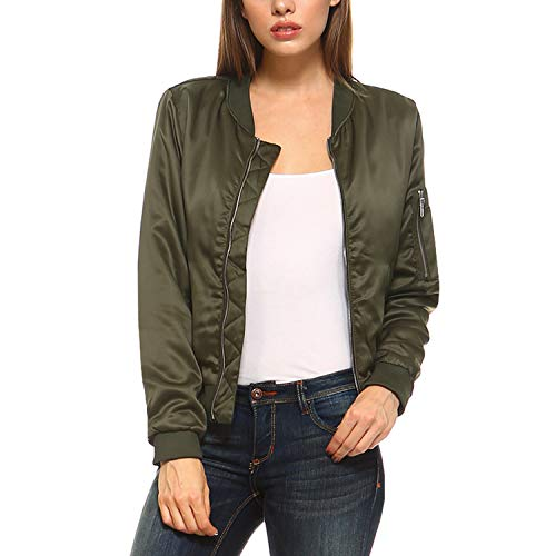 Fashionazzle Women's Solid Classic Zip Up Quilted Short Bomber Jacket Padded Coat (Large, BMJ05-Olive)