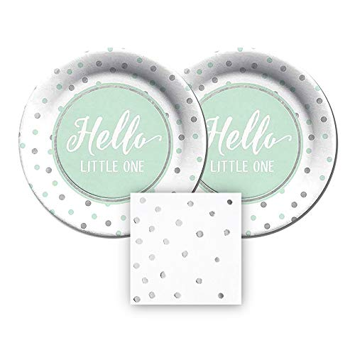 CR Gibson Hello Little One Paper Plates and Silver Dot Napkins, Bundle- 3 Items (Mint Green) ()