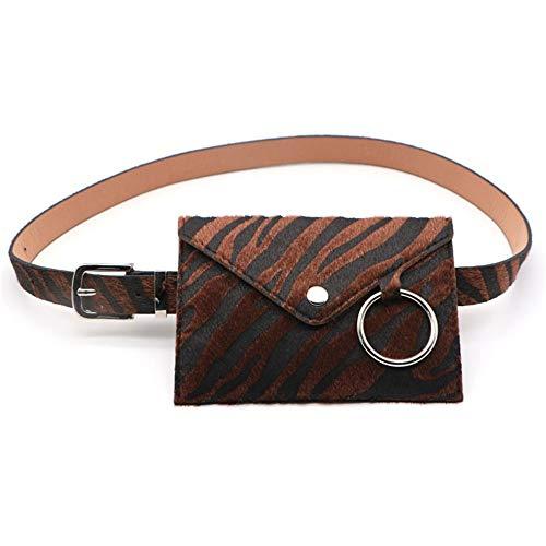 Zebra Belt Canvas - Canvas Belt Women's Zebra Pattern Circle Decorative Waist Bag Mobile Phone Purse Detachable Belt Dress Sweater Decoration (Color : Brown)