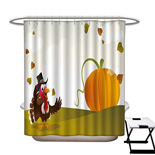 - Turkey Anti Bacterial Shower Curtain Liner Happy Pilgrim Poultry Animal with a Giant Pumpkin on Green Hills of The Farmland Shower Hooks are Included Multicolor