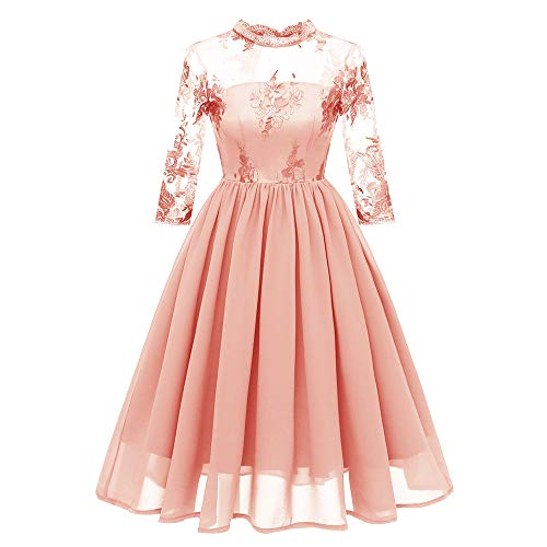 Dresses for Women Vintage Scoop Neck Floral Lace 3/4 Sleeve A-line Pleated Wing Cocktail Dress (2XL, Orange6)