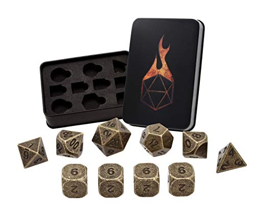 - Forged Dice Co. Metal Polyhedral Dice (Set of 10 Polyhedral (Extra D6s) w/Tin, Thieves Gold Set of 10 Polyhedral (Extra D6s) w/Tin)