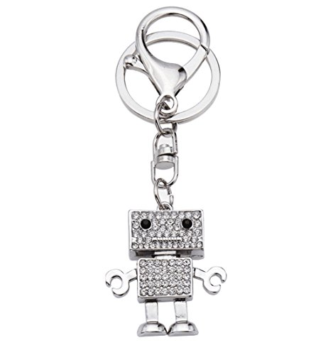 (Lovely Robot Model Key Chain Handbags Accessories Creative Gifts (Silver))