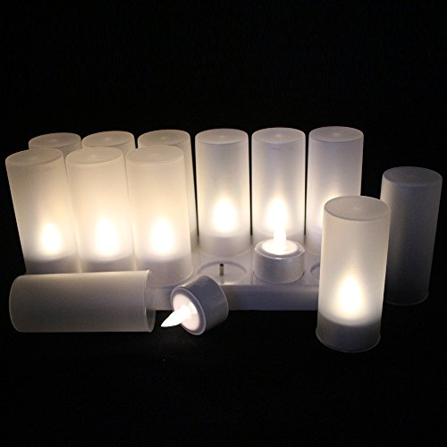 EuroFone LED Rechargeable Candle Flameless Tealight with Holder Charging Station 12pcs/Set (Warm White)