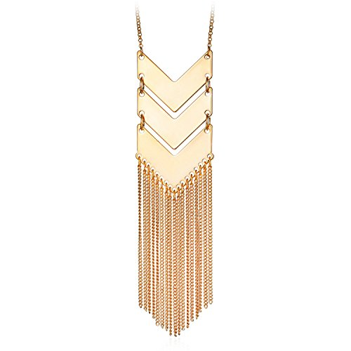 Necklace Jewellery Gold Costume (SRX JEWELRY Exaggerated Gold Platinum Plated Three V Shaped Long Alloy Chain Tassel Pendant Necklace)