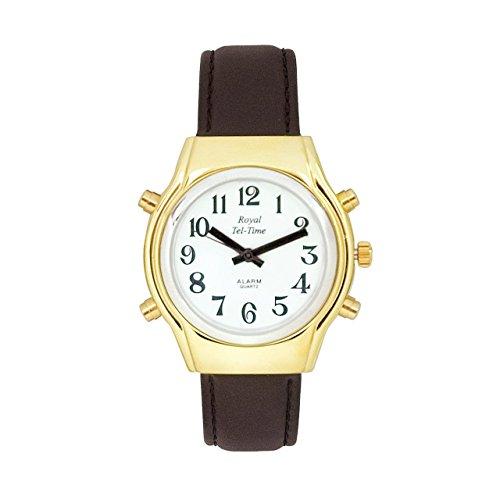 (Mens Royal Tel-Time Bi-Color Talking Watch - White Dial - Leather)