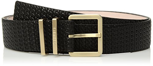 Calvin Klein Women's 35mm Feather Edge Chain-embossed Leather Belt, black, S Calvin Klein Embossed Belt