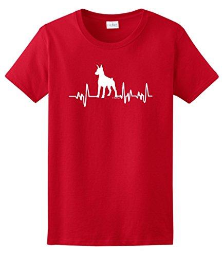 Doberman Pinscher Accessories Doberman Pinscher Gift Dog Lover Heartbeat Doberman Ladies T-Shirt Medium Red (Doberman Pinscher Dog Charm)
