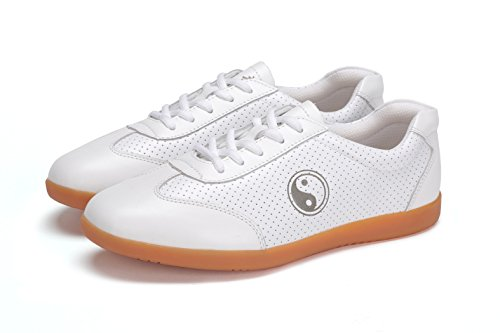 ICNBUYS Women's Breathable Leather Kung Fu Tai Chi Shoes for Summer White Euro 40 US 8.5