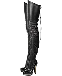 b7dd4ee7c12 Stupmary Women Platform Boots Round Toe Over The Knee High Heels Boots  Zipper Lace Up Bootie