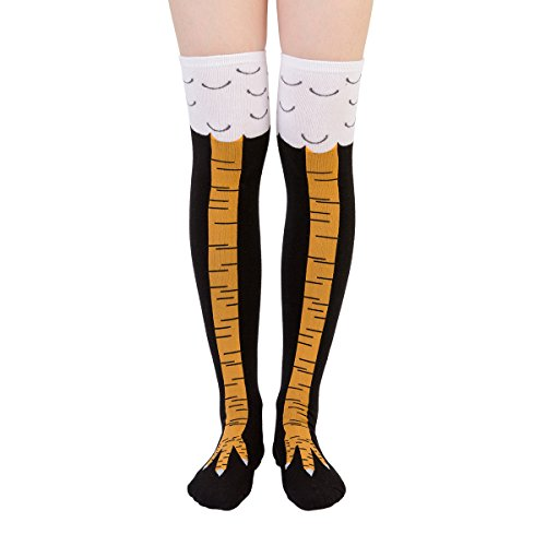 (Zoopwon Crazy Funny Chicken Legs Boots Knee/Thigh High Novelty Socks Funny Gag Gifts (Long Yellow)