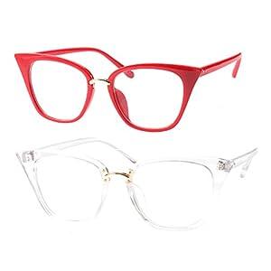 SOOLALA Womens Quality Readers Stylish Oversized Cat Eye Custom Reading Glasses, RedTrans, 1.75x