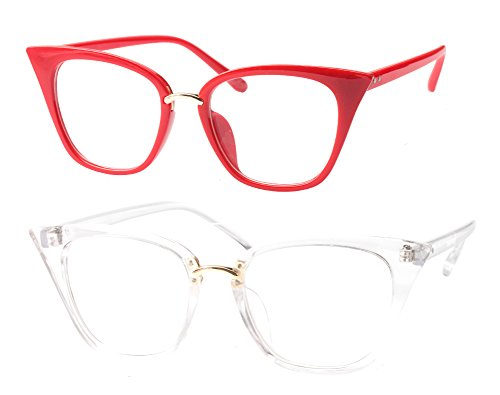 SOOLALA Womens Quality Readers Stylish Oversized Cat Eye Custom Reading Glasses, RedTrans, 2.5x