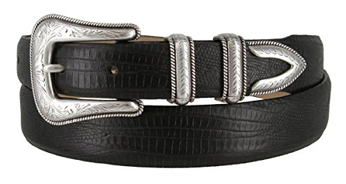 Brenton - Men's Italian Calfskin Designer Dress Golf Belt with Western Silver Plated Buckle Set (40 Lizard Black) (Buckle Black Calfskin Belt)