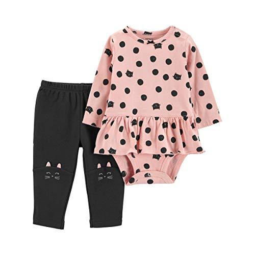 Carters Pink 2 Piece - Carter's 2-Piece Peplum Bodysuit Pant Set - Pink