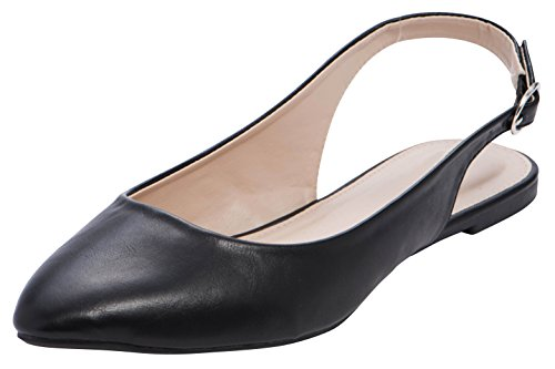 (Cambridge Select Women's Closed Pointed Toe Buckled Slingback Flat,9 B(M) US,Black PU)