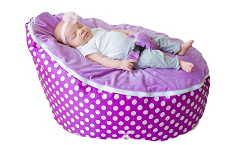 (BayB Brand Baby Bean Bag - Filled - Purple Polka Dot )