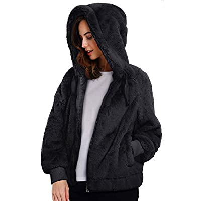 Geschallino Women's Soft Faux Fur Hooded Jacket, 2 Pockets Short/Long Coat Outwear Warm Fluffy Fleece Tops for Winter, Spring at Women's Coats Shop
