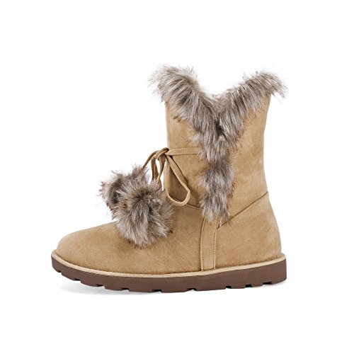 Suede Women's Low Camel Pull Toe WeenFashion Low Heels Closed Top Round Imitated Boots On vqOxUwdz