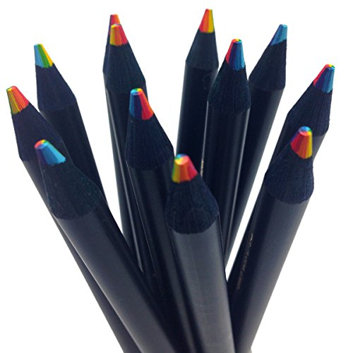 Black Wood Rainbow Colored Pencils - Write and Draw in 7 Brilliant Colors]()