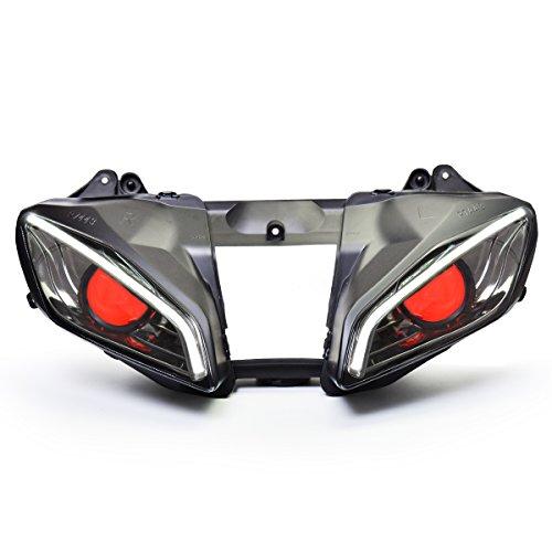 KT LED Optical Fiber Headlight Assembly for Yamaha R6 2008-2016 V2 Red Demon Eye (Yamaha R6 2009)