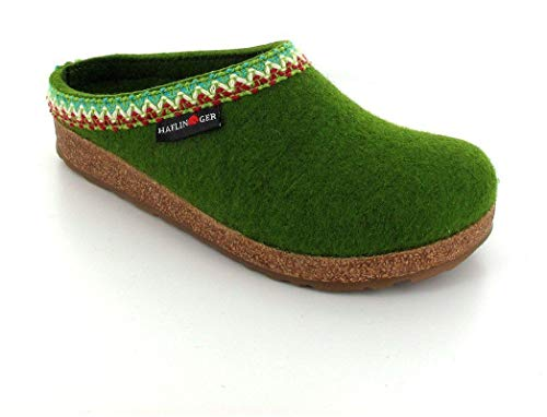 Haflinger GZL Wool Felt Clogs | Grizzly Francisco, Green, 44