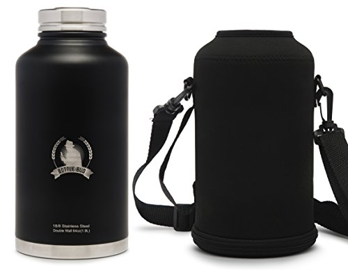 Stainless Steel Growler Water Bottle (64OZ) & Carry Bag, Double Wall Vacuum Insulated, Perfect for Craft Beer with Friends, Thirst-Quenching Water on Long Hikes, or Hot Tea this - Cap Miller High Life