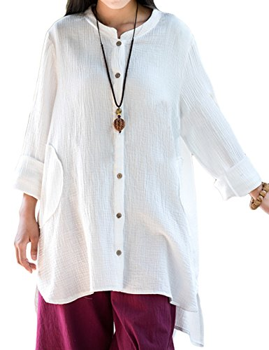Asher Women's Loose Fit Button Down Linen Cotton Cardigan Shirts Coat (One Size, White) - Linen Blend Shirt Top