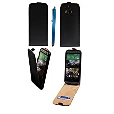 Honovi Slim Pu Leather Cover Sleeve Case for HTC One M8+1 Blue Stylus Pen-black