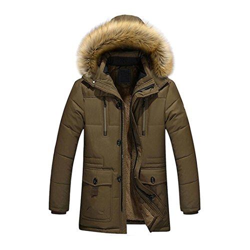 cuello capucha Outwear Hombres de abrigo abrigo OverDose invierno Parka grueso abrigo de de Café algodón piel de de zcHAB