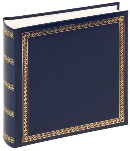 (Walther design MX-103-L Das Schicke Dicke artificial leather book bound album with gold embossing, 10.2 x 9.8 inch (26 x 25 cm), 100 white pages, blue)