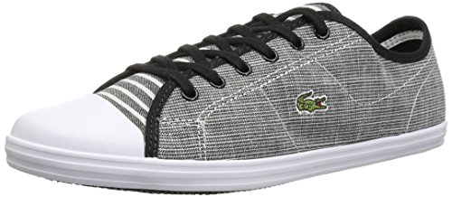 Lacoste Women's Ziane Sneakers, Black/White Textile, 7.5 M US