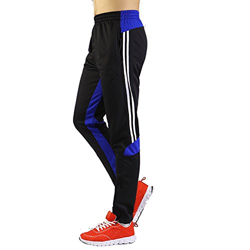 SHINESTONE Men's Skinny Sportswear Soccer Training Pants Fitness Pants Casual Pants (Medium, Black Blue) by SHINESTONE