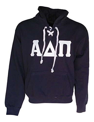 (Mega_Greek Mens Alpha Delta Pi Sports Lace Hooded Sweatshirt (Large, Navy))