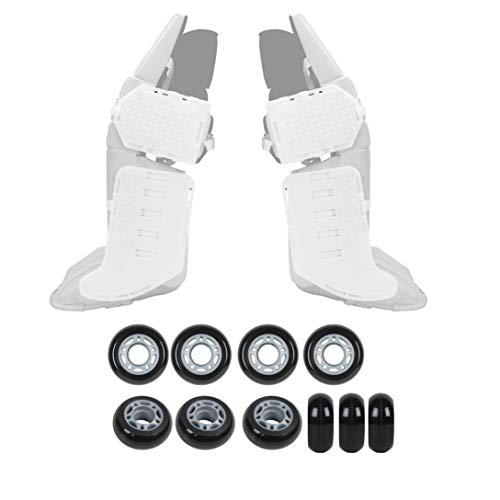 Rollerfly White Slide Plates + Solid Black Outdoor Goalie Wheels - ()
