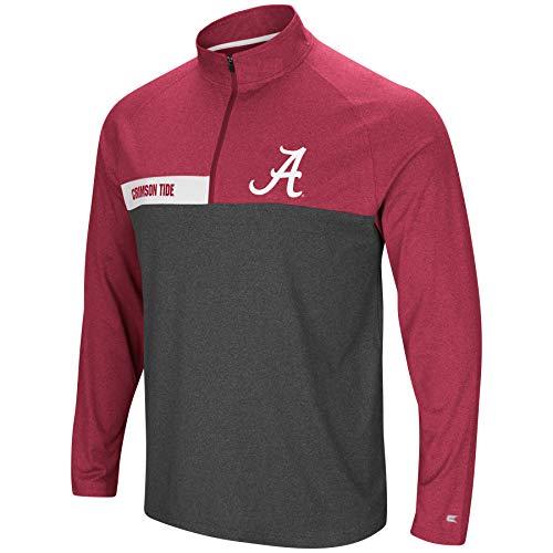 Colosseum Jacket - Colosseum Men's NCAA-No Mercy-1/4 Zip Pullover Windshirt-Alabama Crimson Tide-Heather Crimson-Large
