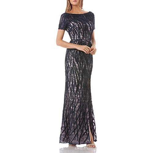 JS Collections Womens Lace Embroidered Evening Dress Navy 6 ()