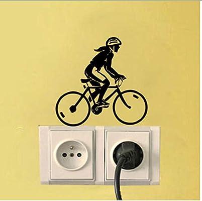 Mujer ciclista y bicicleta decoración luz interruptor etiqueta ...