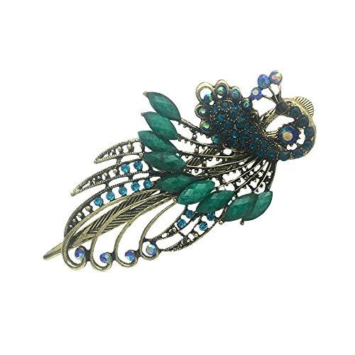 Earofcorn Exquisite Retro Style Rhinestone Peacock Hair Pin Hair Fork Phoenix Duckbill Clip Hair Jewelry -