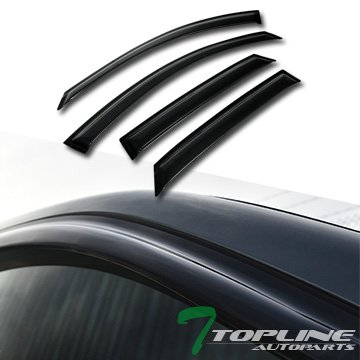 Topline Autopart Smoke Window Visors Deflector Vent Shade Guard 4 Pieces For 95-99 Toyota (Roof 4 Pieces)
