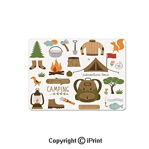 (Large Gaming Mouse Pad Camping Equipment Sleeping Bag Boots Campfire Shovel Hatchet Log Artwork Print Extended Mat Desk Pad Mousepad Non-Slip Rubber Mice Pads 9.8