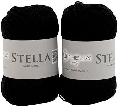 Ofelia Italy Stella019 Stella glomérulos Hilo 100% algodón, Paquete de 2 x 50 G, Negro: Amazon.es: Hogar