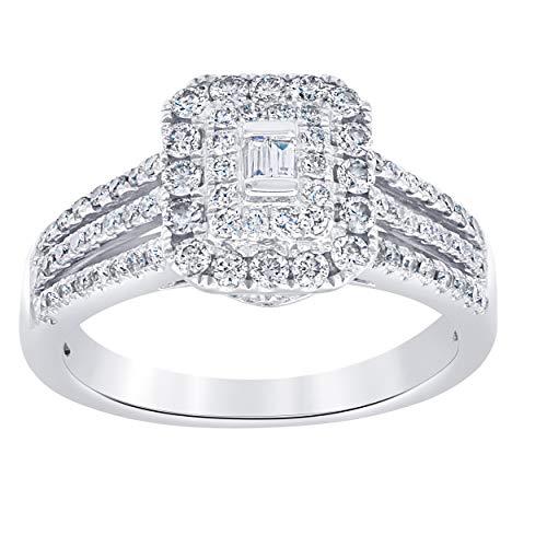La4ve Diamonds 3/4 Carat Baguette And Round Cut Diamond Engagement Ring In 14K White Gold. (Color H-I) (Clarity - Diamond Baguette 0.75 Ct