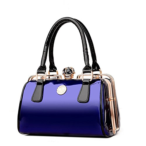 - Women Frame Handbag Patent Leather Shoulder Bag Ladies Designer Handbags Large Capacity Tote Crossbody Bags Small Blue