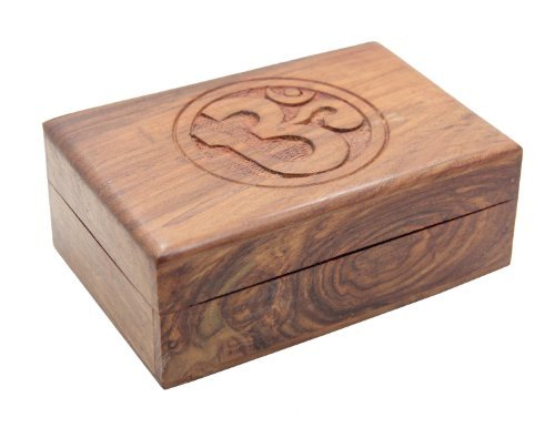 Wooden-Storage-Box-Hand-Carved-Hindu-OM-AUM-4x-6