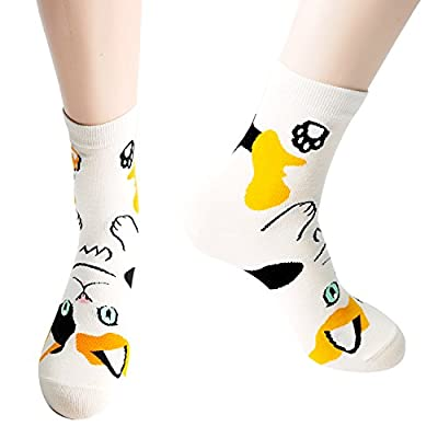 Womens Casual Socks-Cute Crazy Lovely Animal Cats Good for Gift One Size Fits All, 5 Cats, One Size at Women's Clothing store