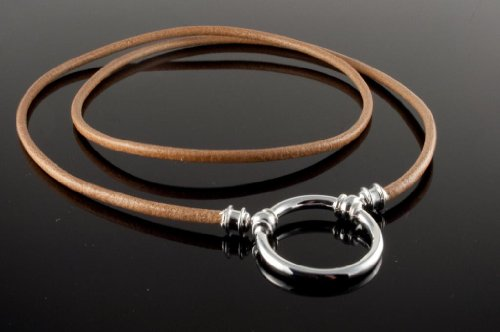 La Loop 965LP Classic Leather Necklace - Silver Plated 23mm Loop (No Clasp) in Saddle