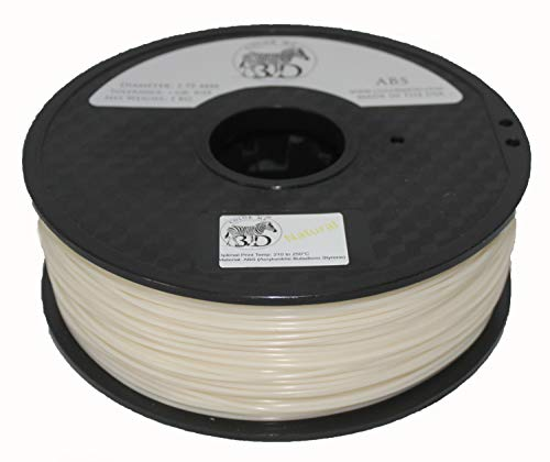 COLORME3D Quality 3D Printer Filament Natural ABS-1KG (2.2 lbs) Made in The USA 1.75 mm +/- 0.05 mm Accuracy- Natural ABS by Color Me 3D