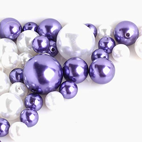 Factory Direct Craft Assorted White and Purple Faux Pearls | 140 Pieces ()