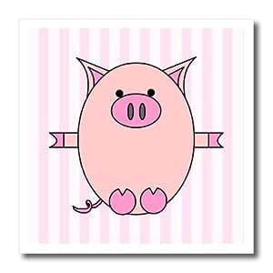 ht_6369_1 Janna Salak Designs Farm Animals - Piggy Power Pink Stripes - Iron on Heat Transfers - 8x8 Iron on Heat Transfer for White Material
